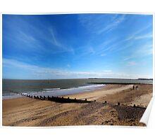 Blue Sky And A Beach - Walton On Naze Essex  Poster