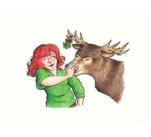 Christmas Fun with Lily and Prongs Art Print