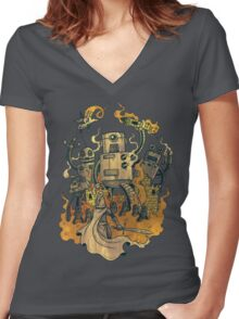 The Robots Come Out At Knight Women's Fitted V-Neck T-Shirt