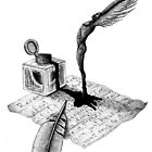 Inspiration surreal black and white pen ink drawing by Vitaliy Gonikman