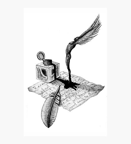 Inspiration surreal black and white pen ink drawing Photographic Print