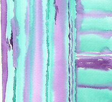 Watercolor Hand Painted Purple Turquoise Stripes by Beverly Claire Kaiya