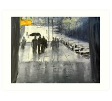Rainy City Street Art Print