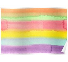 Watercolor Hand Painted Rainbow Stripes Background Poster