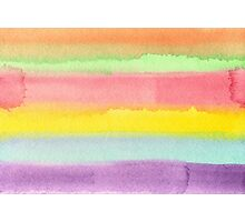 Watercolor Hand Painted Rainbow Stripes Background Photographic Print