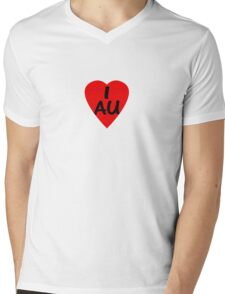 I Love Australia - Country Code AU T-Shirt & Sticker Mens V-Neck T-Shirt