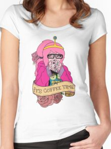 Adventure Time - It's Coffee Time (Princess Bubblegum) Women's Fitted Scoop T-Shirt