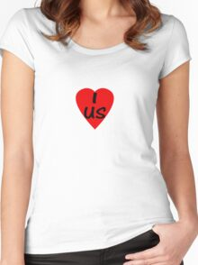 I Love USA Country Code US - USA T-Shirt & Sticker Women's Fitted Scoop T-Shirt