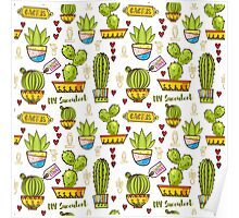 Seamless pattern of cacti and succulents in pots. In the hand drawn style. Poster