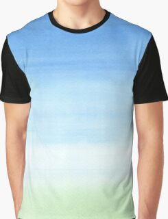 Watercolor Hand Painted Blue Sky Green Grass Texture Graphic T-Shirt