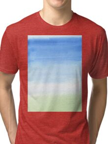 Watercolor Hand Painted Blue Sky Green Grass Texture Tri-blend T-Shirt