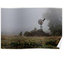 Foggy Windmill Poster