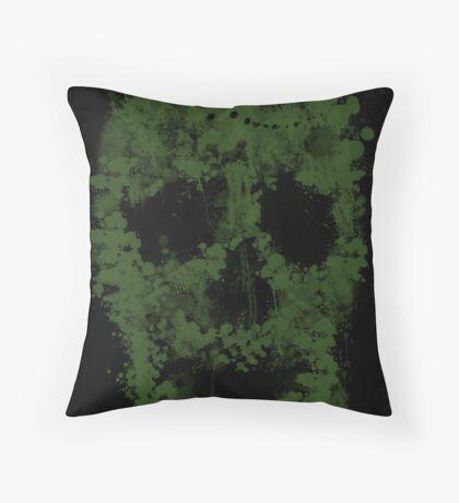 Splatter Skull Zombie (green) Throw Pillow