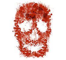 Splatter Skull (red blood of white) Photographic Print