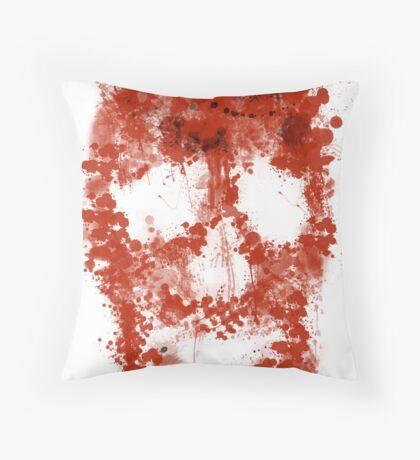 Splatter Skull (red blood of white) Throw Pillow