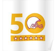 50 Pro Football Championship Sunday Helmet Poster