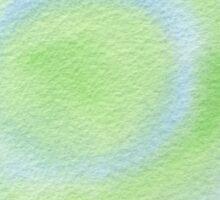 Watercolor Hand Painted Blue Green Bulls-Eye Sticker