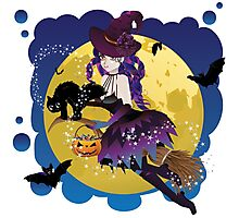 Witch and Full Moon 4 Photographic Print