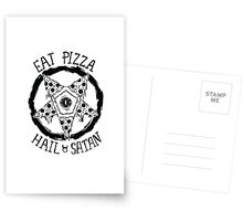 Eat Pizza Hail Satan Postcards