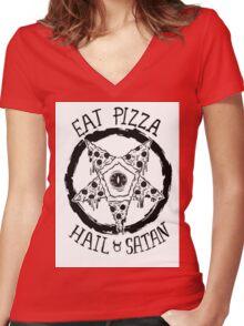 Eat Pizza Hail Satan Women's Fitted V-Neck T-Shirt
