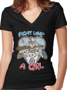 Fight Like A Girl - Fight Like A Tank Girl (Tank Girl) Women's Fitted V-Neck T-Shirt