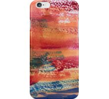 Hand Painted Abstract Art Wine Red Orange Blue Texture iPhone Case/Skin