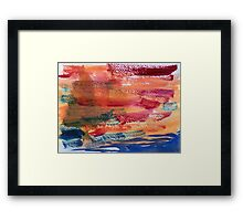 Hand Painted Abstract Art Wine Red Orange Blue Texture Framed Print