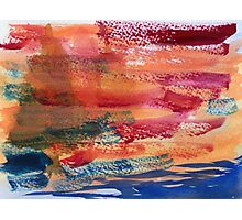 Hand Painted Abstract Art Wine Red Orange Blue Texture Photographic Print