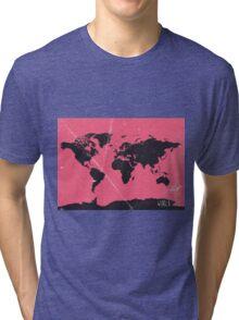 World map pink Tri-blend T-Shirt