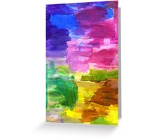 Colorful Hand Painted Rainbow Acrylic Abstract Psychedelic Art Greeting Card