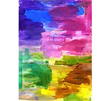 Colorful Hand Painted Rainbow Acrylic Abstract Psychedelic Art Photographic Print