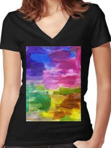 Colorful Hand Painted Rainbow Acrylic Abstract Psychedelic Art Women's Fitted V-Neck T-Shirt