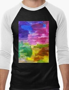 Colorful Hand Painted Rainbow Acrylic Abstract Psychedelic Art Men's Baseball ¾ T-Shirt