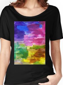 Colorful Hand Painted Rainbow Acrylic Abstract Psychedelic Art Women's Relaxed Fit T-Shirt