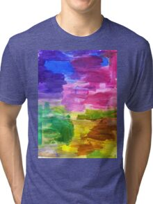 Colorful Hand Painted Rainbow Acrylic Abstract Psychedelic Art Tri-blend T-Shirt