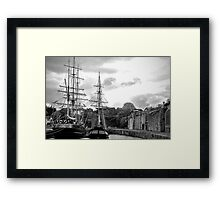Sail ships in Dock Framed Print