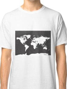World map black and white F Classic T-Shirt