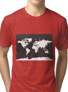 World map black and white F Tri-blend T-Shirt