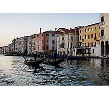Venice, Italy - Glossy Water Gondola Pair on the Grand Canal Photographic Print