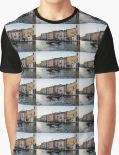 Venice, Italy - Glossy Water Gondola Pair on the Grand Canal Graphic T-Shirt