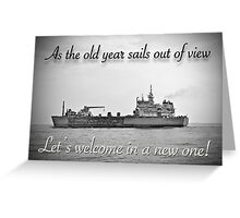 New Year Greeting Card - Old Year Sails Beyond the Horizon Greeting Card