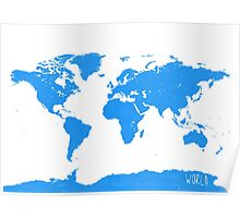 World map W blue 2 Poster