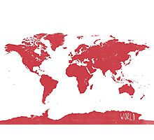 World map W REd Photographic Print