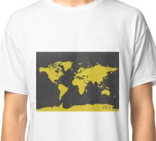World stylish map Yellow Black Classic T-Shirt