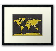 World stylish map Yellow Black Framed Print