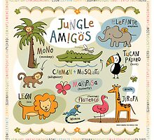 Jungle Amigos! Bilingual Animal Art by kimberlyschwede
