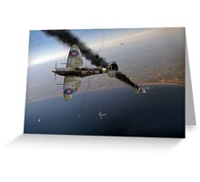 303 Squadron Spitfires in Channel dogfight Greeting Card