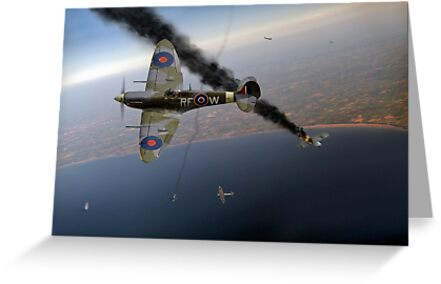303 Squadron Spitfires in Channel dogfight by Gary Eason + Flight Artworks