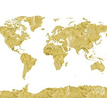 World map Gold paint by Pranatheory