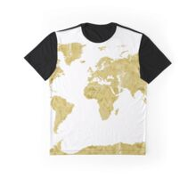 World map Gold paint Graphic T-Shirt
